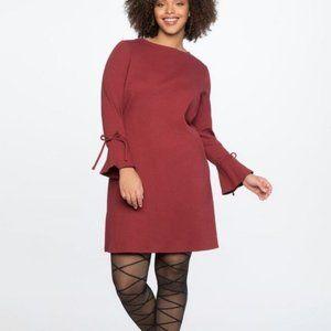 Eloquiii Tie Sleeve Rib Knit Dress NWT 14/16